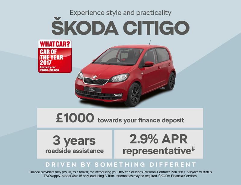 1000 Deposit Contribution Towards The Brand New Skoda Citigo